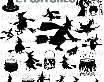 Halloween Svg, Witch Svg, Witch Clipart, Halloween Witch Silhouette svg, dxf, ai, eps, png, Halloween Witch Vector Files,png,dxf