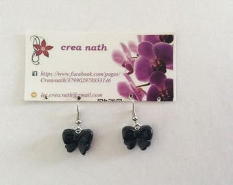 polymer clay black bow earring