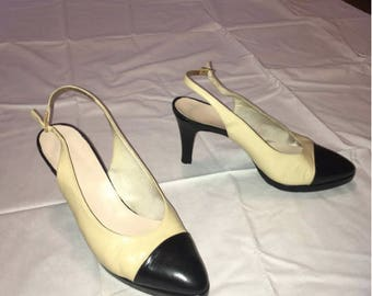 Chanel Sling Back Pumps with Cap Toe SIZE 38