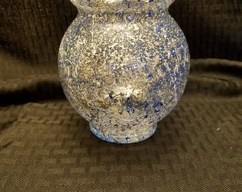 Hand painted blue and silver glass globe
