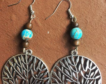 Tree of Life Earrings with Blue Jasper