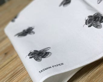 Bumble Bee Tea Towel, designed & made in the UK