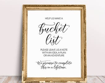 Bucket List Wedding Sign, Wedding Signage, Wedding Bucket List, Help Us Make A Bucket List, Bucket List Guestbook, Guest Book Sign