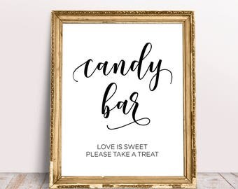 Candy Bar Sign, Wedding Signs, Love Is Sweet Please Take A Treat, Sweet Table Sign, Candy Bar Sign Printable, Reception Signs, Candy Bar