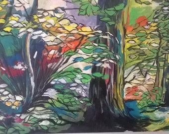 Outstanding colorful Impressionist painting of the fall woods by Portland, Oregon artist Joseph Cardinal