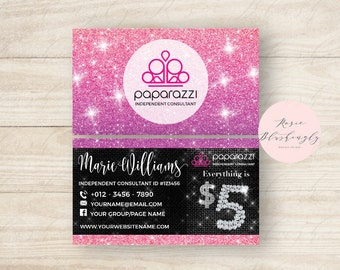 Paparazzi Business Cards, Free Personalized, Paparazzi Jewelry Consultant Card,Glitter, For Vistaprint or Home Printing