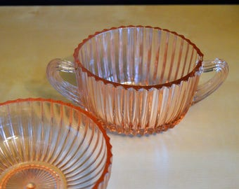 "2 Pcs Vintage Anchor Hocking Pink Glass Queen Mary Sugar Bowl and 5"" Dessert Berry Bowl, Ribbed Sunburst"