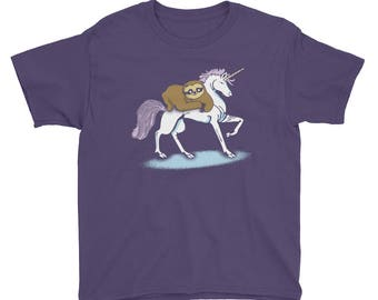 Sloth Riding A Unicorn Kids Unicorn T-Shirt