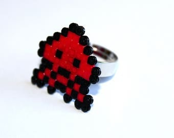 Ring beaded - Space Invaders Red