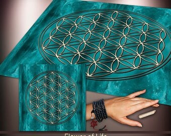Crystal Grid Cloth- Flower of Life - Crystal Meditation Energy Grid