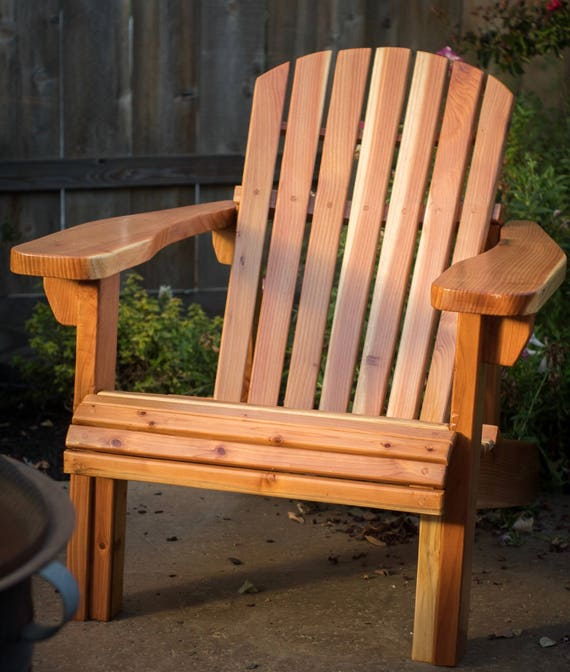 Perfect Traditional California Redwood Adirondack Chair