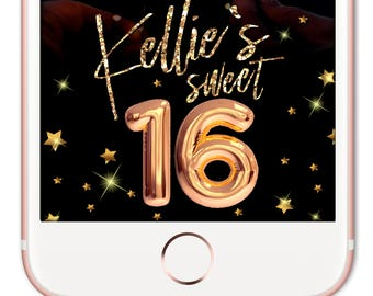 Sweet 16 Snapchat Filter, Birthday Snapchat Filter, Snapchat Geofilter Birthday, Birthday Geofilter, Graduation Party Geofilter