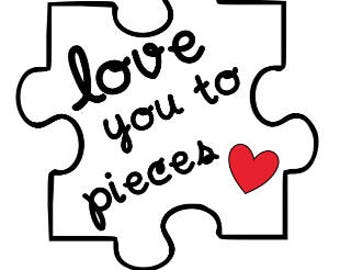 "Vinyl decal: ""love you to pieces"" puzzle piece"