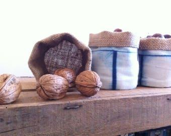 Storage pot color indigo blue fabric square 8 x 8 cm frieze pattern