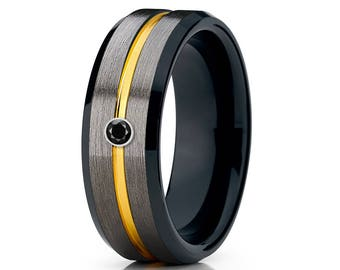 Black Diamond Tungsten Wedding Band Men & Women Tungsten Wedding Ring Anniversary Band Yellow Gold Tungsten Ring Comfort Fit