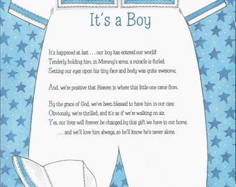It's a Boy 8.5 x 11 Acrostic Poem Print