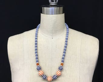 Orange and blue striped beaded necklace
