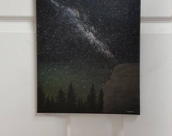 NIGHT SKY PAINTING Glow in the Dark painting Forest painting Wall Art Nature Painting Star Galaxy painting Outdoors Art night Forest art