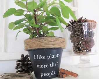 I like plants more than people. Funny plant pot. Funny Plant pun potter. Succulent Planter. Indoor Planter. Funny Christmas gifts.