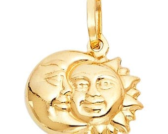 14K Solid Yellow Gold Sun and Moon Pendant