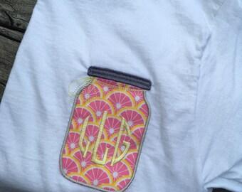Monogram Mason Jar Shirt, Preppy, Choose Jar Pattern, Grapefruit, Yellow Chevron, Green Chevron, Personalize, Cute Gift