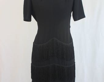 40's Does 20's Little Black Fringe Dress Size Small