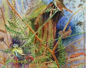 A4 Giclée Print entitled 'Woodland Birds in the Bracken' from an original watercolour painting by artist Martin Romanovsky