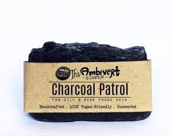 Charcoal Patrol Activated Coconut Charcoal Vegan 100% Organic Soap  Oily Acne Prone skin Gift for Him For Her gift  November pimple soaps