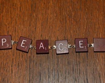 """Handmade Scrabble Tile """"Peace"""" Bracelet"""