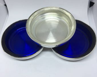 Vintage F. B. Rogers Silver Co, Silver Plated Cobalt Blue and Clear Glass Silver Plated Barware Coasters