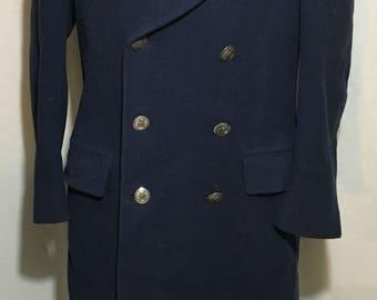 1950's USAF Staff Sergeant Wool Peacoat - Blue