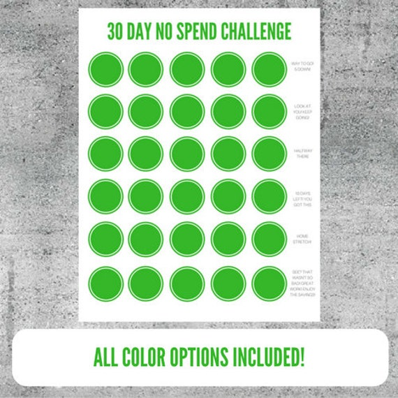 printable no spend challenge worksheet money saving