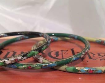 Three Vintage Cloisonne Bangle Bracelets / Green / Black / Light Yellow / Vintage Beauty / Stackable Bracelets