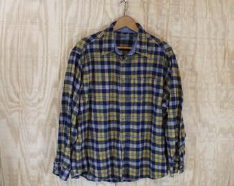Vintage Soft Cotton Flannel Gold / Blue Tartan Plaid Button Down Shirt XL