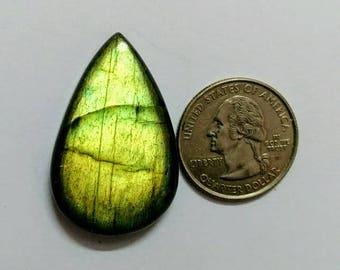 37.80 x 24.28 mm,Pear Shape Labradorite Cobochon/Green Flash/wire wrap stone/Super Shiny/Spectrolite  Cabochon/Semi Precious Gemstone/labra