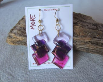 Earrings glass transparent purple pink shades