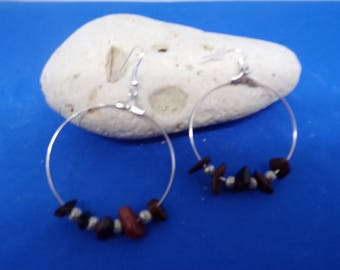 Earrings Silver earrings with Bull's eye chips beads