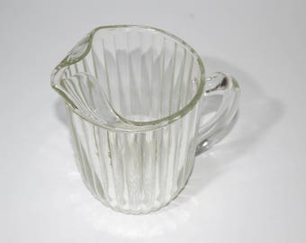 Vintage, Depression Glass, Jeannette Glass, Pitcher, National Pattern, Clear Pressed Glass, Rib and Dot Design, 1940s, Ice lip