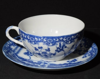 Eggshell Porcelain, Japanese, Blue and White Teacup and Saucer, Cherry Blossom - Vintage Teacup,Bone China, White and blue, floral, Japan