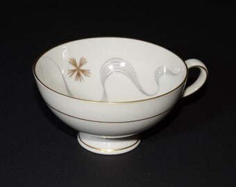 Bavaria, Germany, Bone China, Footed, Teacup only, orphan teacup, Vintage, grey, line, wave, gold star, Gold Rimmed, MCM,Fitzgerald & Hudson