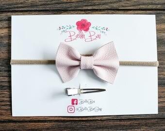 Baby Bow, Baby Headband, Blush Pink Leather Bow, Break-away Bow