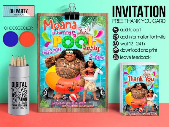 moana pool party invitation and free thank you tags moana birthday