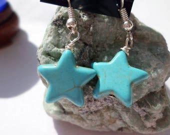 Turquoise Blue Howlite Star Earrings