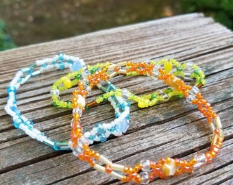 Orange Bracelet with Star Accents