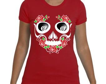 WOMEN'S SKULL SHIRT | Skull With 8-Ball Eyes | Funny Shirt | Badass Shirt by Badass T-Shirt Co.