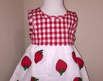 Red and white plaid and strawberry tunic top