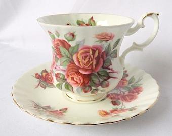 Vintage Royal Albert, Bone China England, ''Centennial Rose'' Porcelain Cup and Saucer