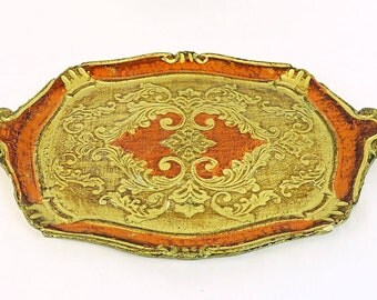 Large Vintage Italian Florentine Serving Tray, Gold and Red