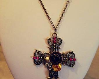 Gorgeous Ornate Skull Cross Necklace