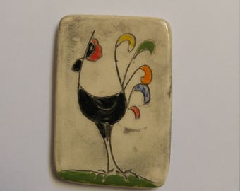 Hand painted ceramic Rooster magnet